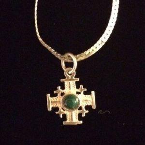 """Jewelry - 18"""" Silver Flat Snake Chain w/ Greek Cross Vintage"""